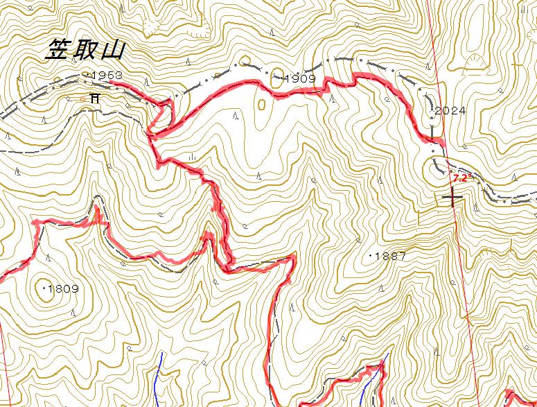 右の磁北線近くの2,024mのピークが黒えんじゅの頭、今回引き返している鞍部のポイントから昨年は迷っている。