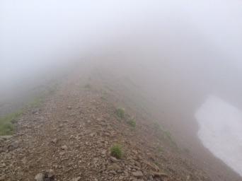 濃霧でのホワイトアウト。森林限界を超えたルートでは色のせいか、踏み跡も同じように見えてくる。小さい道標を見逃したり。(2013年白馬岳近辺)