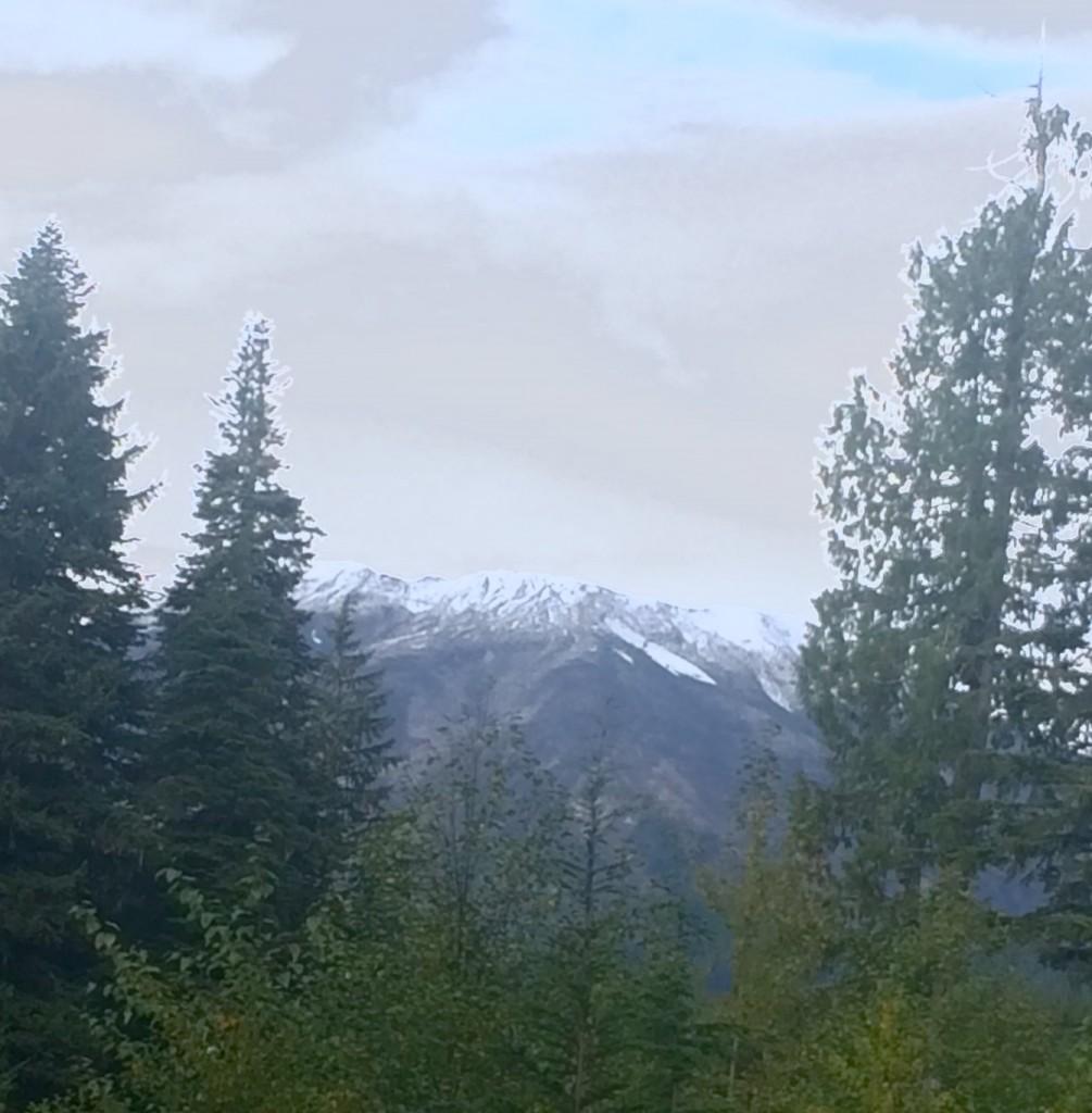 帰り際に振り返ると、南から見えるセントへレンズ山、山頂付近はうっすらと雪化粧をしており、昨晩の嵐を物語っていた。それにしてもこの角度は富士山ににている。