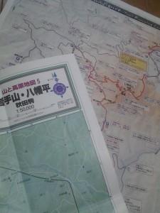 """""""カルデラトレイル22km""""の大会コースを中心に七時雨トレイルエリア全体のガイドマップ。"""