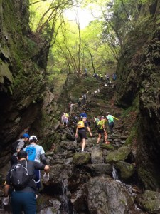 渓流沿いの岩場なかなか手強いです