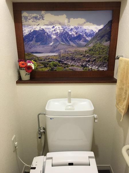 トイレの向こうはマウント・クック!のつもり。