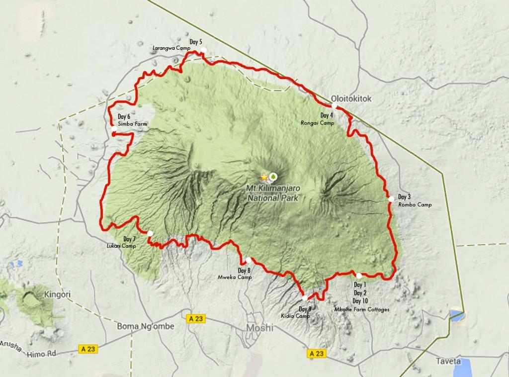 ホームページの地図を引用:   http://kilimanjarostagerun.com/itinerary/