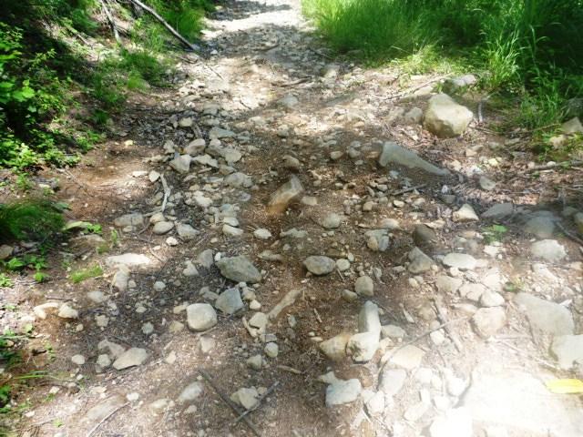28km地点。ガレガレの区間。挫かないように足首のテーピングをお勧めします。